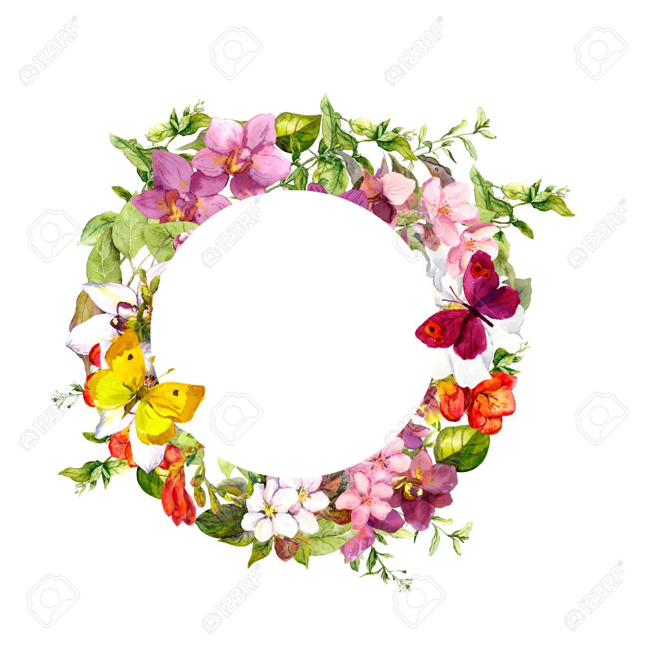 Mariposas En Las Flores. Círculo De La Corona De Flores. Acuarela ...