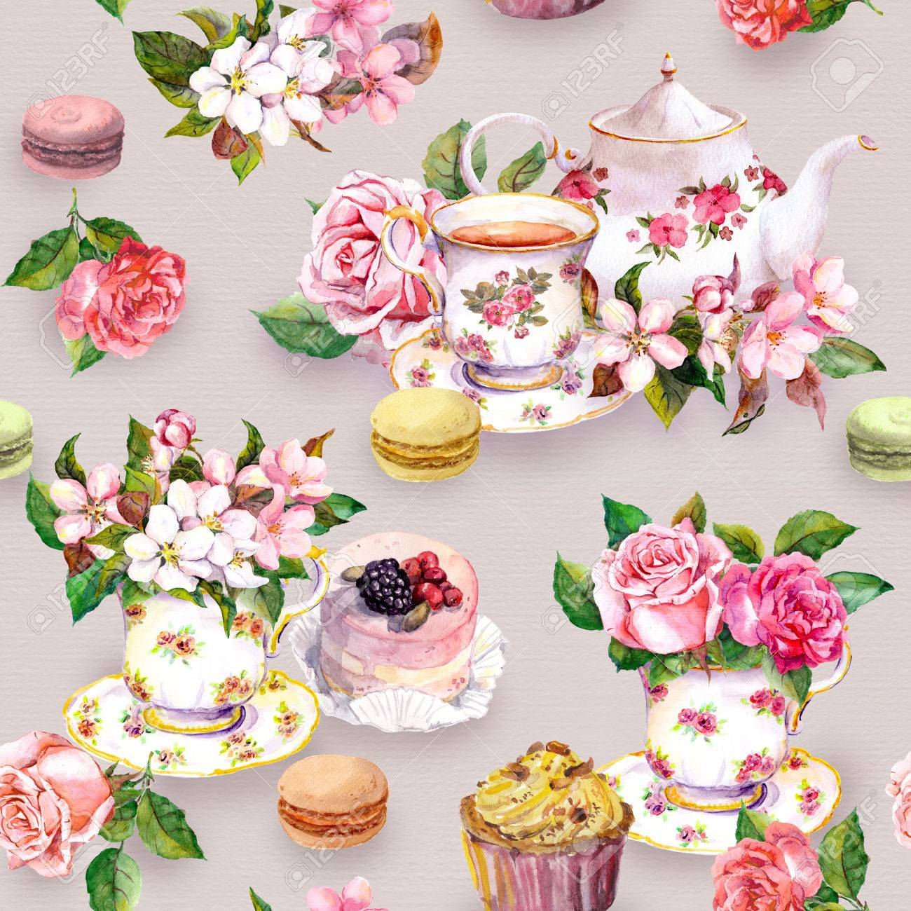 Tea Pattern With Flowers Cherry Blossom Rose Flower In Cup
