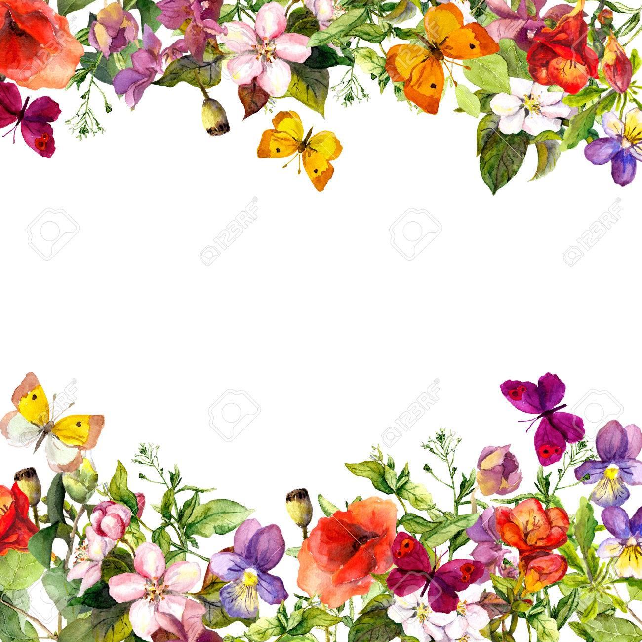 Primavera, Jardín De Verano: Flores, Césped, Hierbas Y Mariposas ...