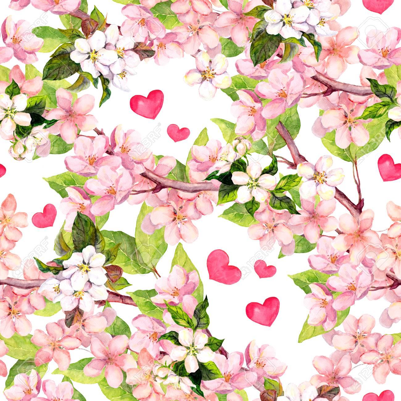 Kirschblute Apfel Rosa Blumen Herzen Floral Sich Wiederholendes