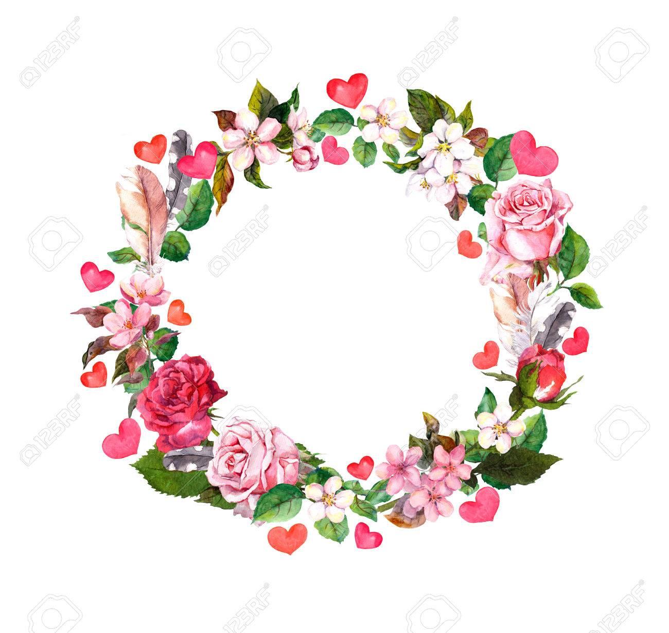 Blumenkranz Rosen Blumen Federn Herzen Aquarell Runde Grenze