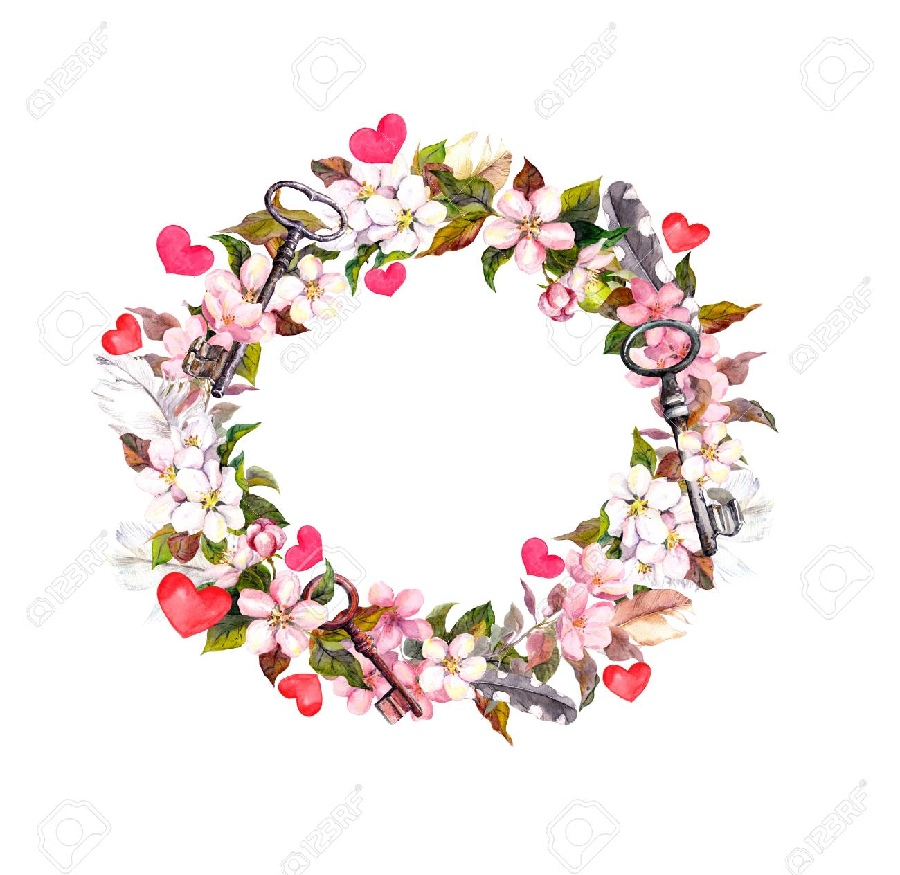 Floral Wreath Frame Pink Flowers Boho Feathers Hearts And