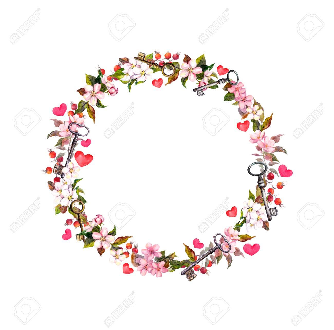Blumenkranz Mit Rosa Blumen Herzen Schlussel Aquarell Kreisgrenze