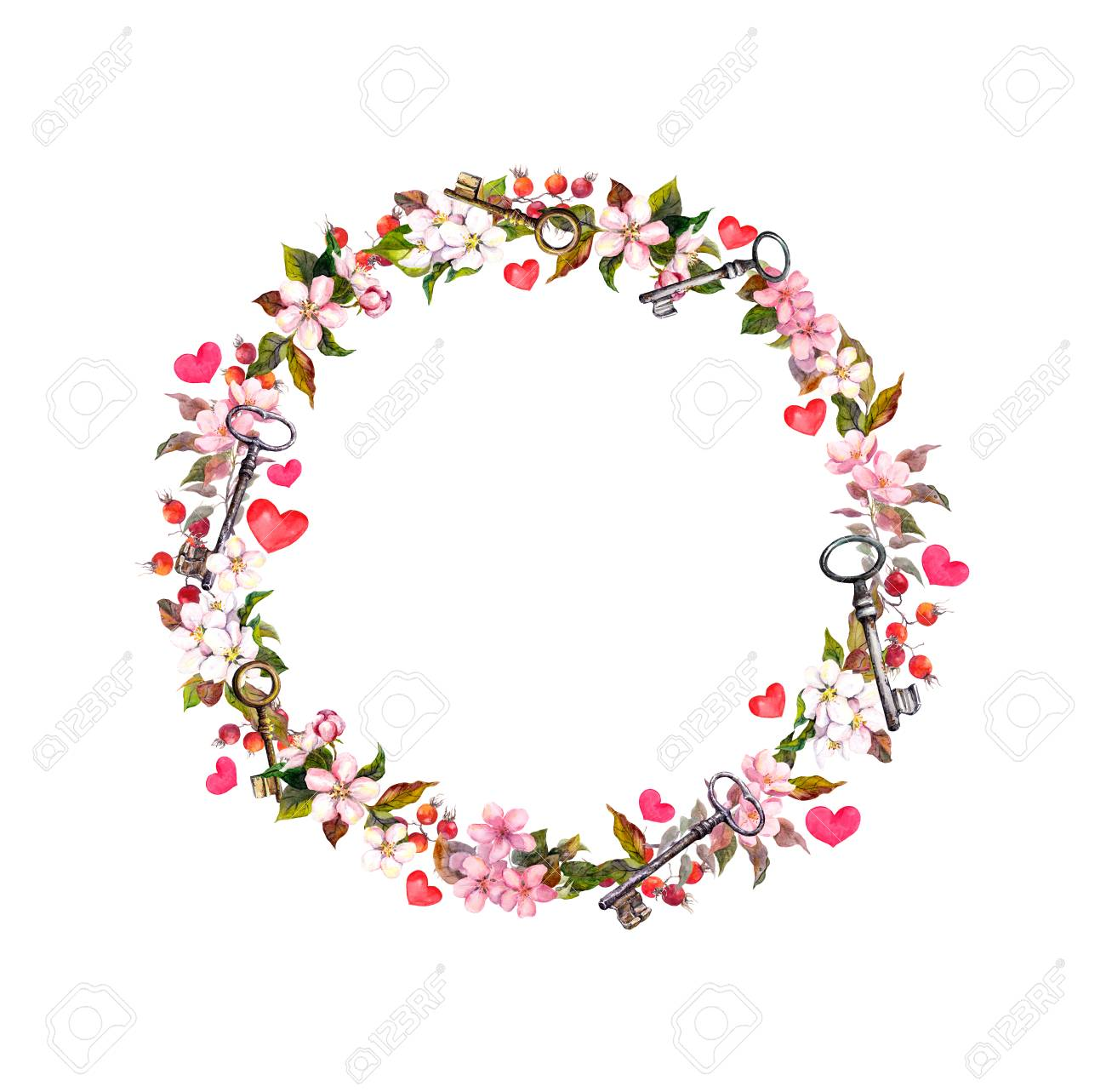 Floral wreath with pink flowers hearts keys watercolor circle floral wreath with pink flowers hearts keys watercolor circle border for valentine day mightylinksfo