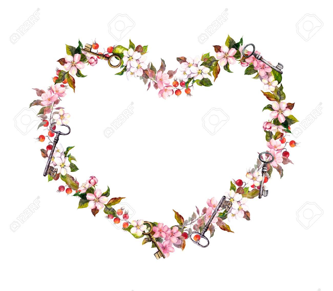 Blumenkranz Herzform Rosa Blumen Herzen Schlussel Aquarell Zum
