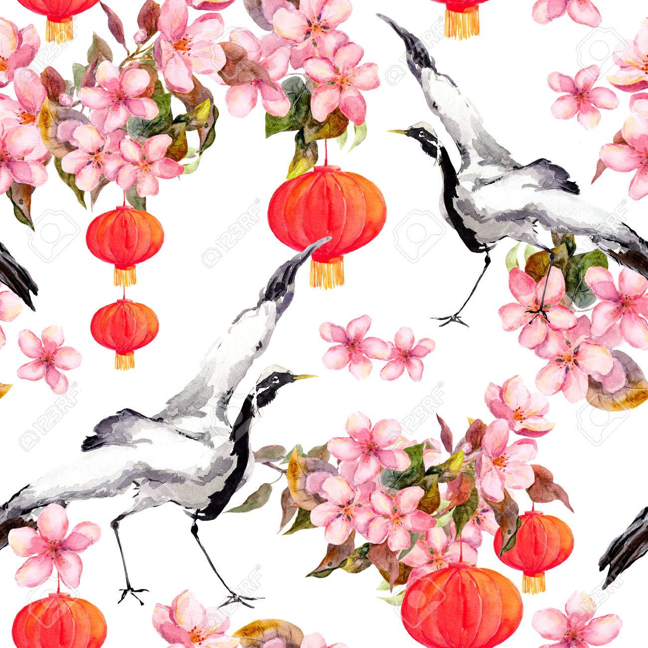 red chinese lantern in spring pink flowers apple plum cherry