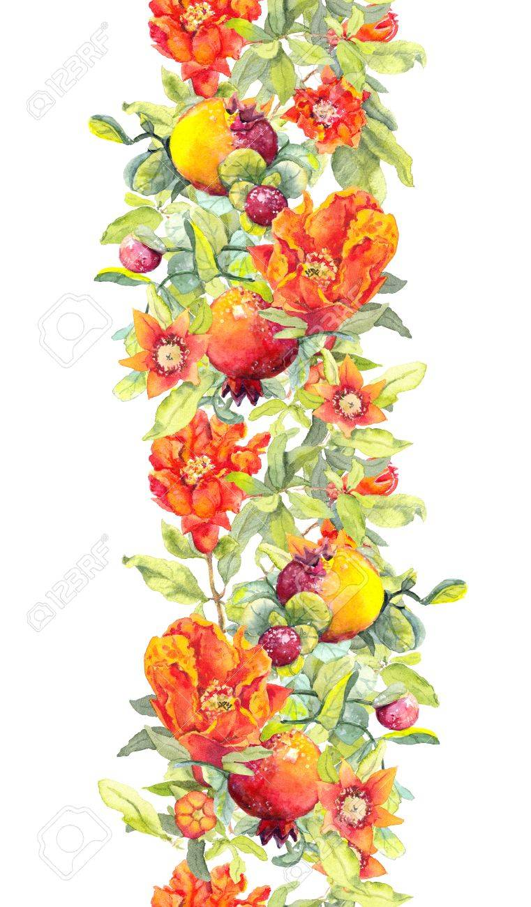 Pomegranate Fruits Red Flowers Seamless Floral Border Watercolor Stripe Stock Photo