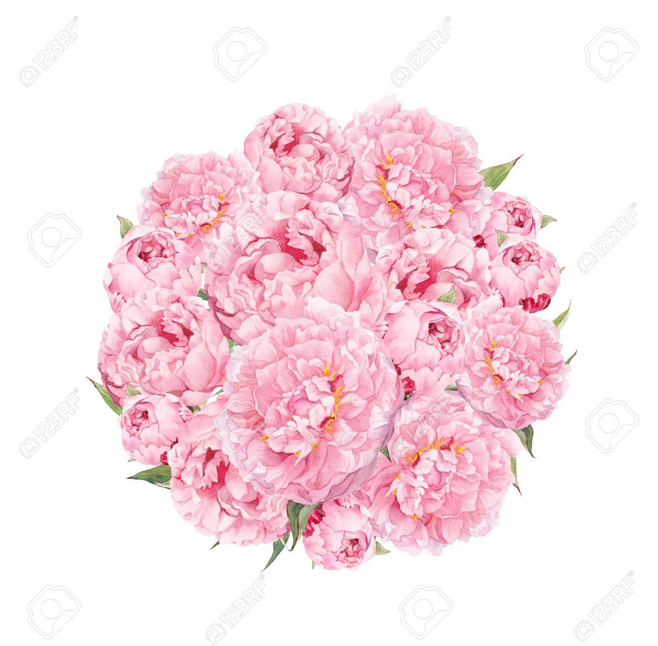 Flowers Pattern With Peonies Round Bouquet Of Pink Flowers