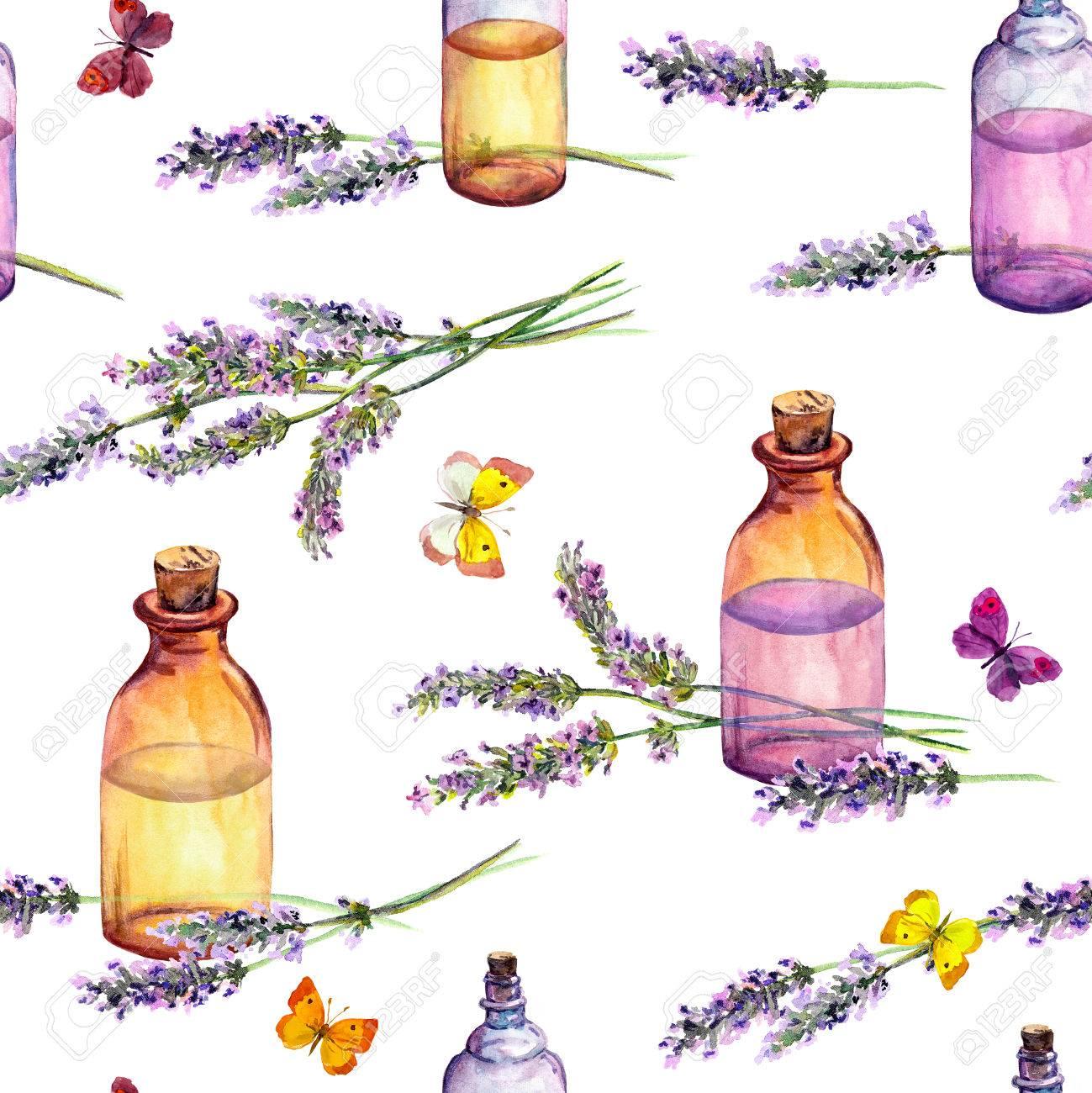 Fleurs de lavande, bouteilles de parfum d'huile, papillons. Motif répété  pour cosmétique, parfum, design de beauté. Aquarelle vintage