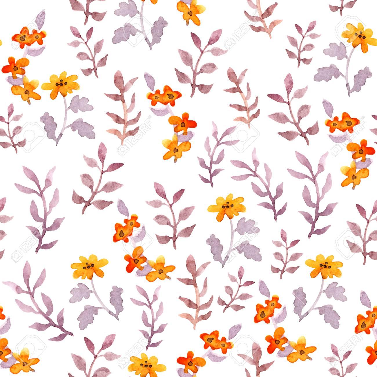 Seamless Simple Floral Pattern Vintage Cute Flowers And Leaves