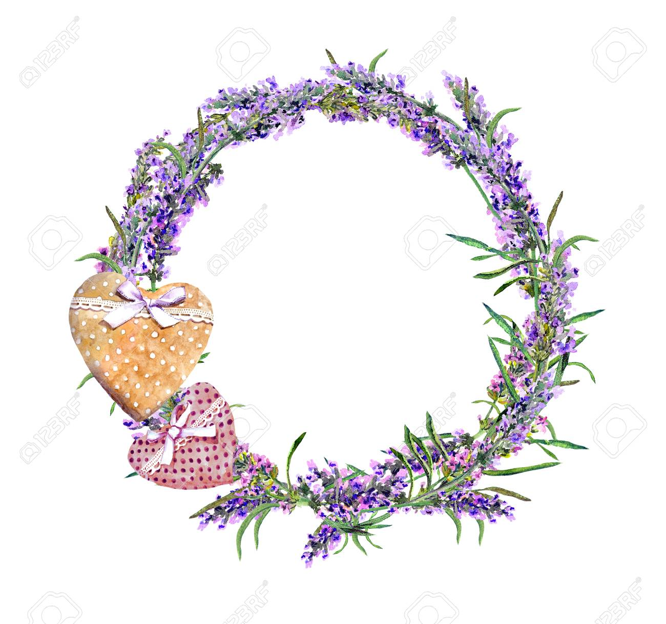Lavender Flowers Wreath Textile Hearts Watercolor In Rustic Provencal Style Stock Photo