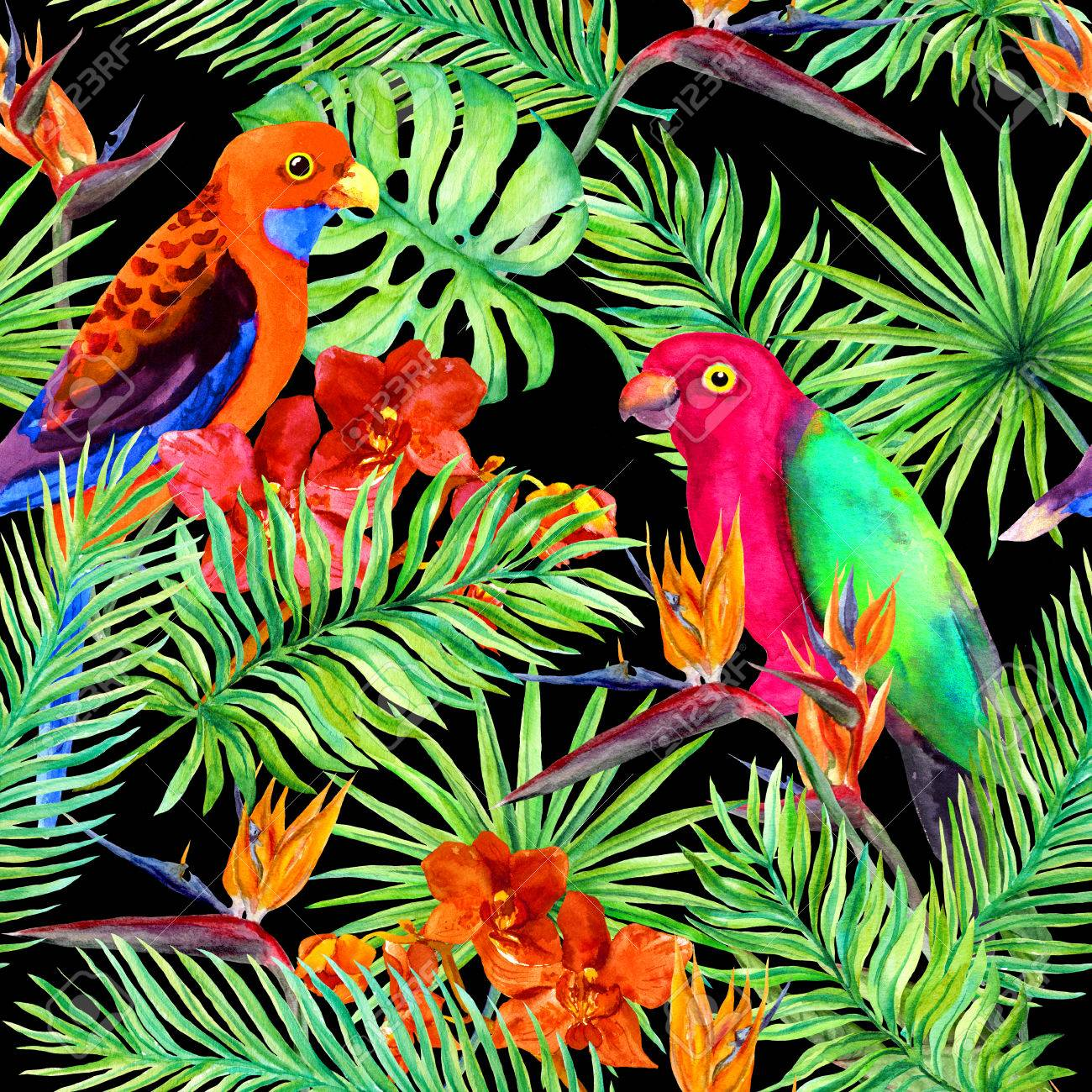 Jungle Leaves Parrots Butterflies Multicolored Feature Wallpaper
