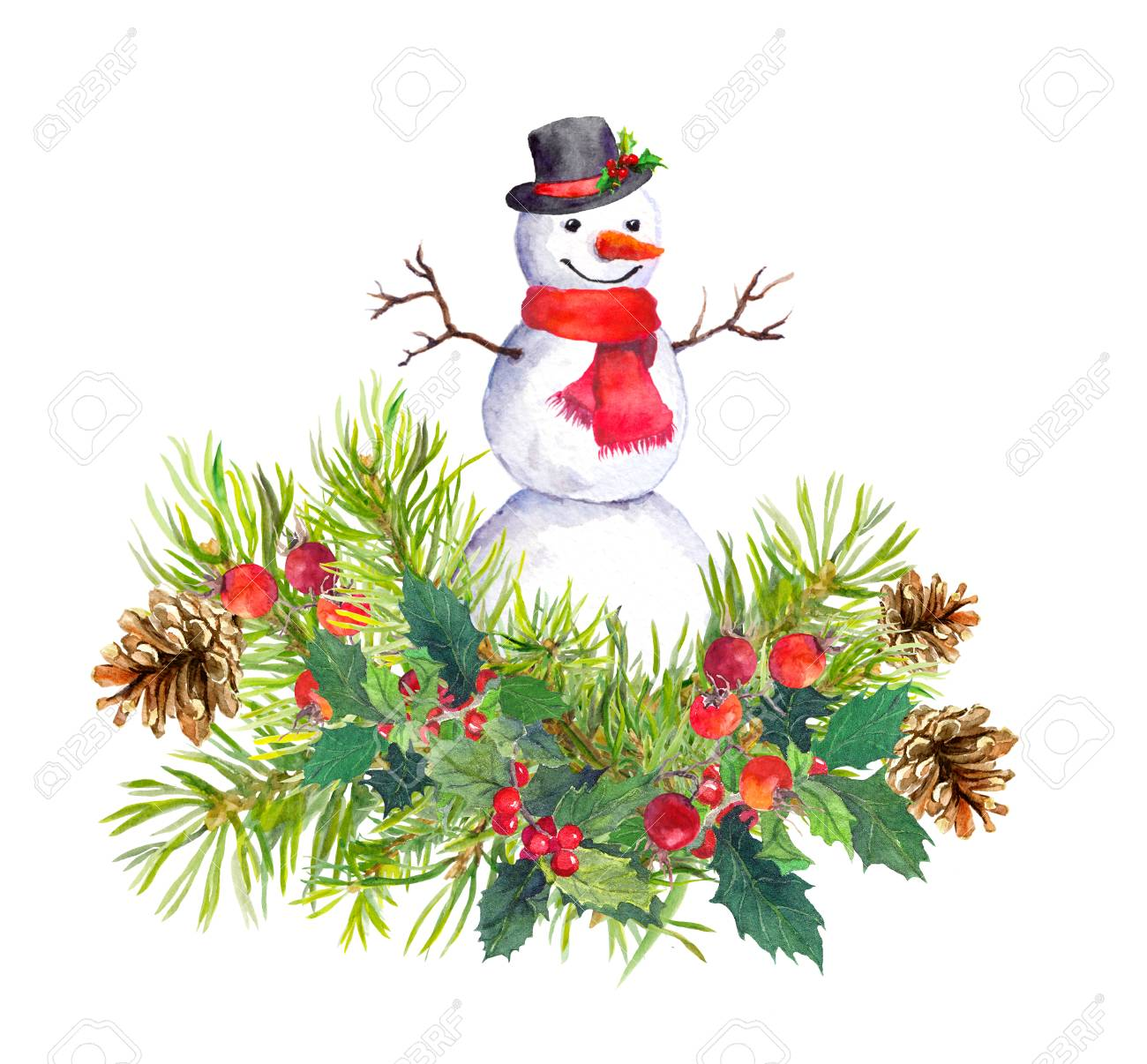 snowman in top hat and red scarf fir tree mistletoe watercolor for new