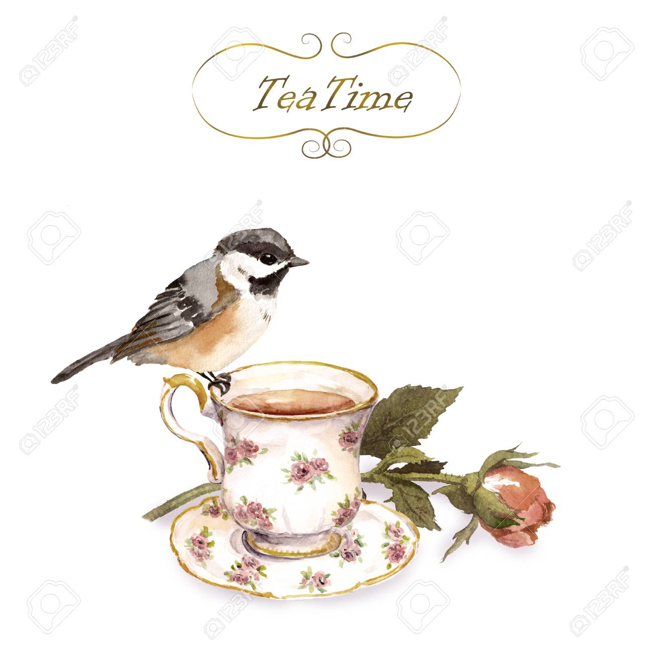 Vintage Invitation Card With Retro Design Bird Tea Cup Rose