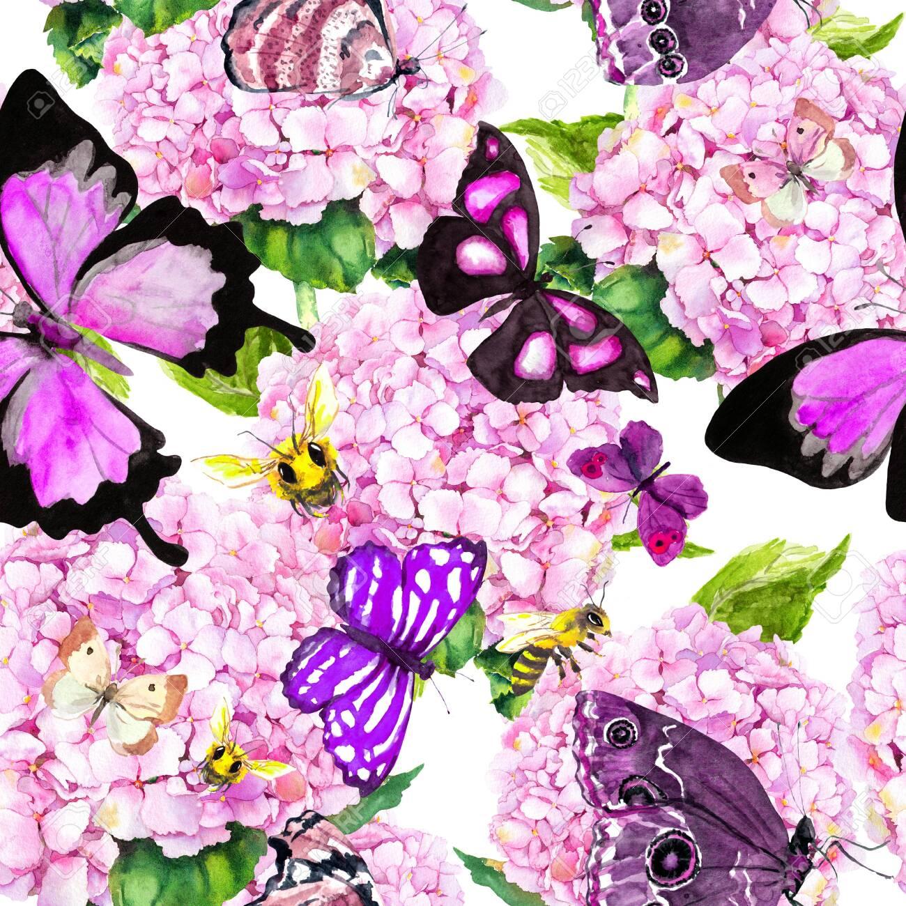 Pink hydrangea flowers, butterflies, bees. Seamless floral pattern. Watercolor. - 130911599