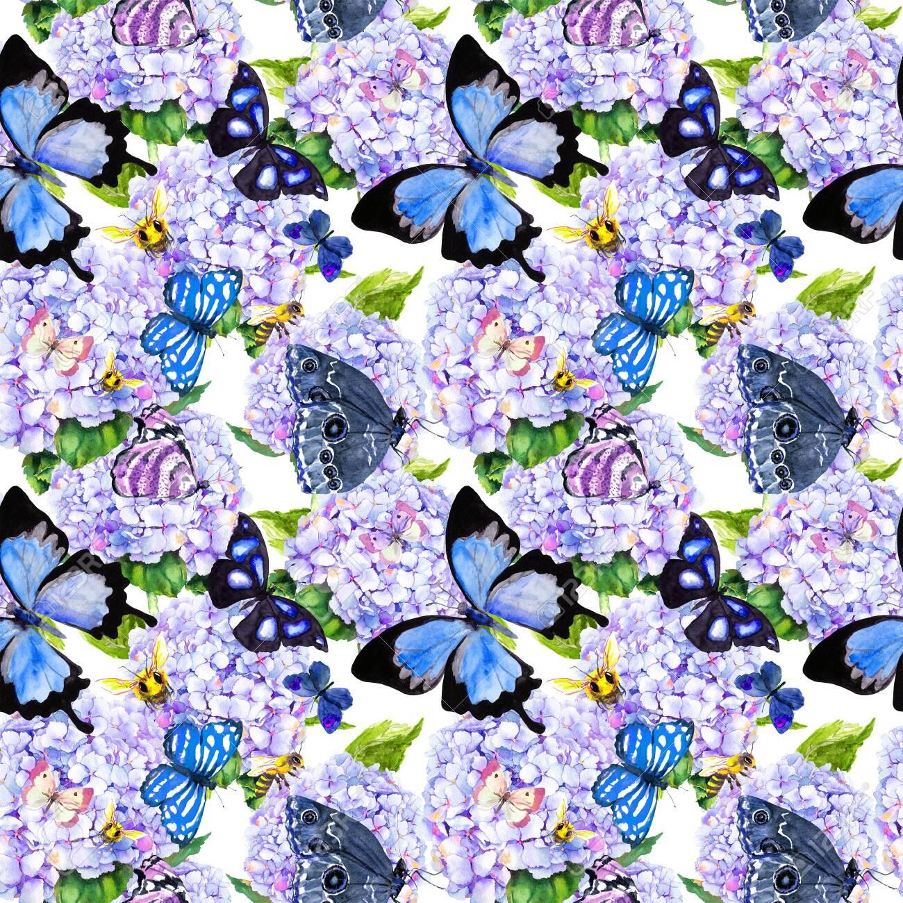 Blue hydrangea flowers, butterflies, bees. Seamless floral pattern. Watercolor. - 135383679