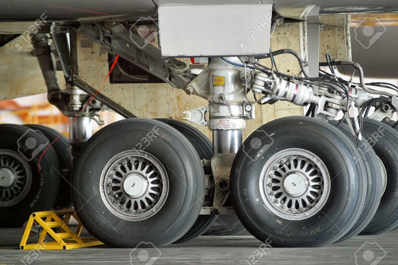 Close up of aircraft wheel at the hangar Stock Photo - 13204331