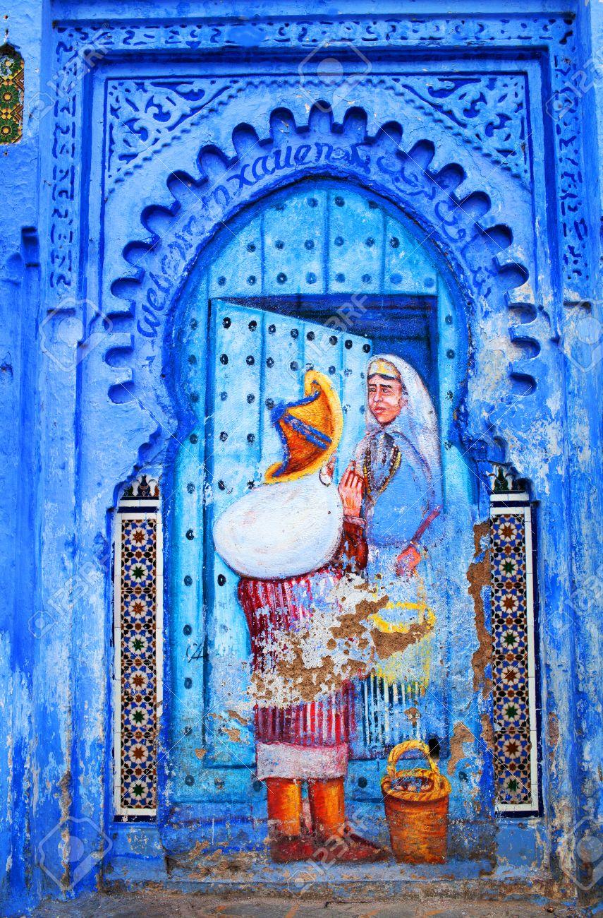 Chefchaouen Maroc 2 Janvier 2014 Peinture Murale Fresque Sur La Place Uta El Hammam à Chefchaouen Maroc Ceci Est La Place La Plus Animée De La