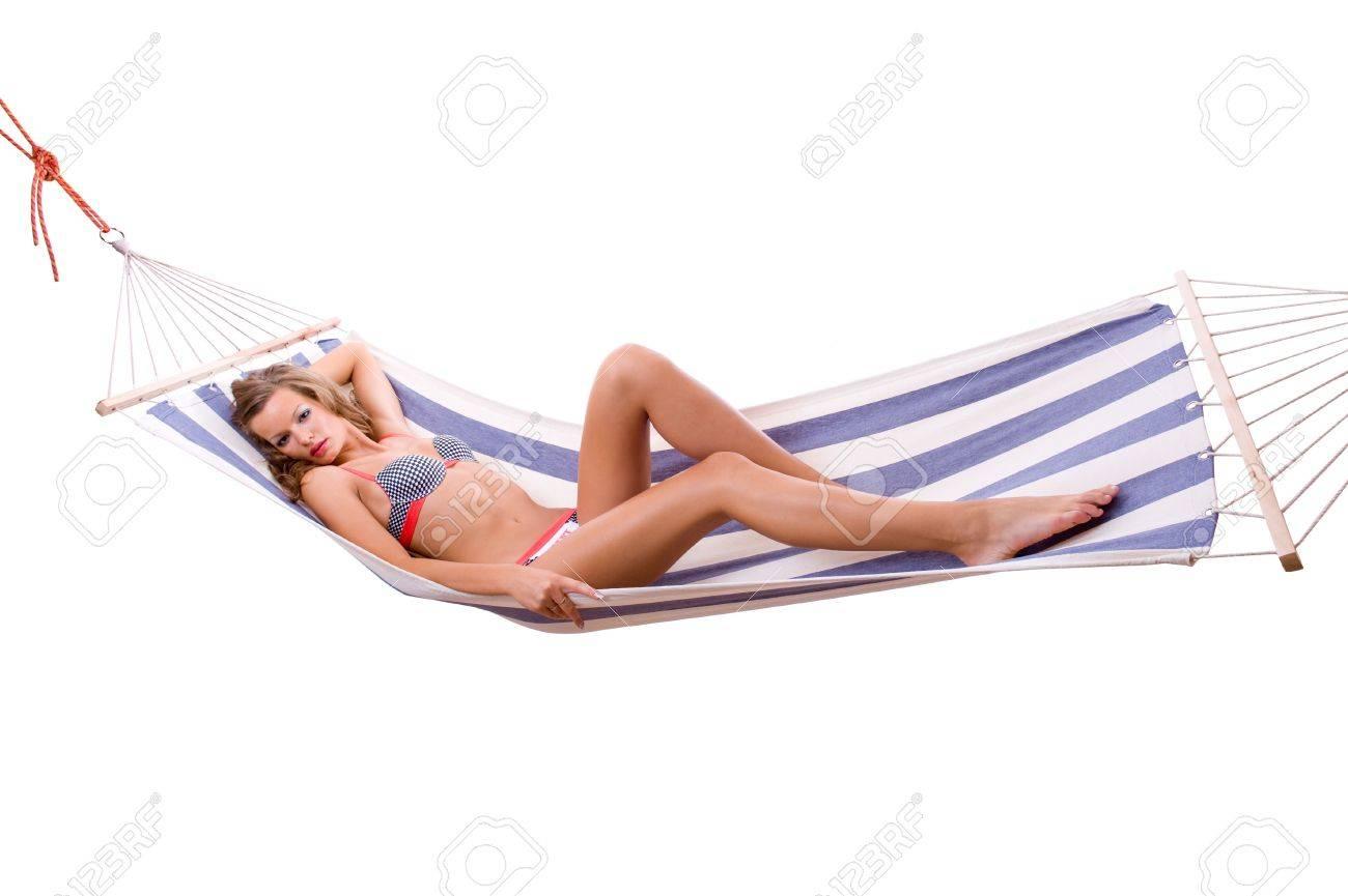 Sexy woman wearing bikini relax on hammock. Isolated on the background Stock Photo - 3452951